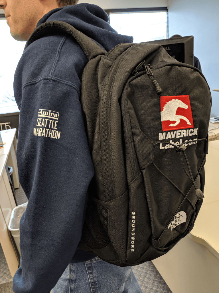 Evan (IT) in his Seattle Marathon sweatshirt and MaverickLabel backpack