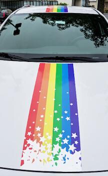 Rainbow banner first day