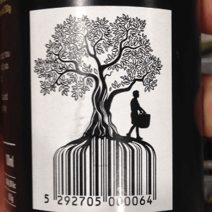 olive oil barcode design with tree roots