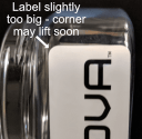 label peel because label is too big for container