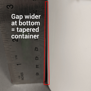 tapered containers need more measurements