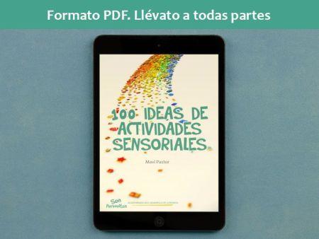 100 ideas de actividades sensoriales de Mavi Pastor siendo visualizado en una tablet