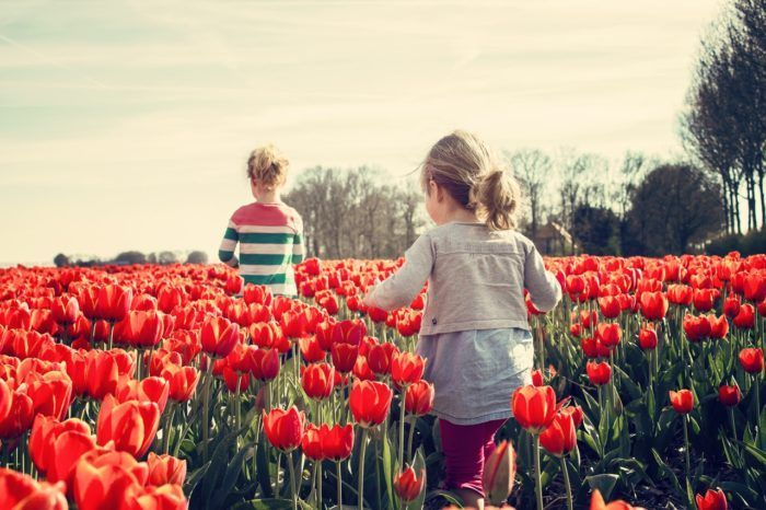 niños con tulipanes. Actividades para hacer en primavera