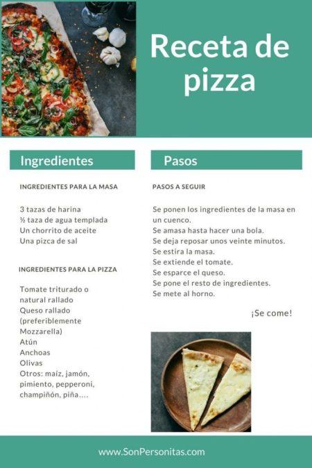 Infografía de la receta de pizza Cocinando con Papá