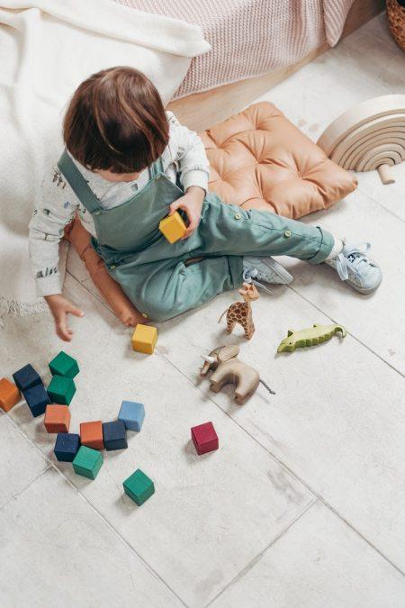Niños jugando con juguetes de madera