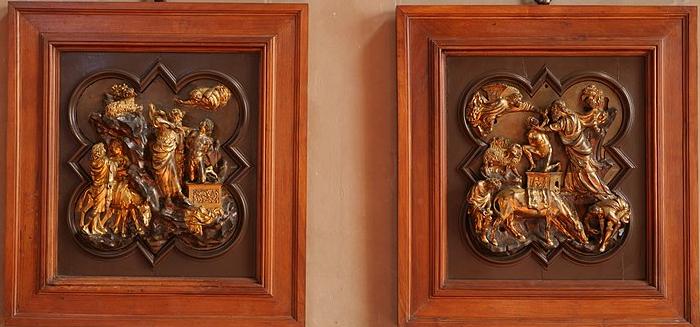 Relieves escultura Ghiberti y Brunelleschi Cuattrocento Florencia