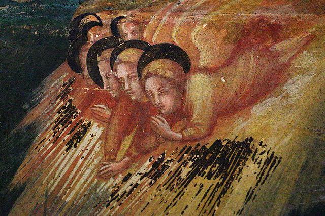 Pintura gótica española de tres ángeles