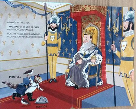 El gato con botas hablando con el rey.