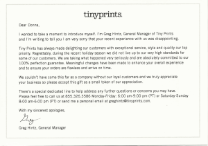 Letter from Tiny Prints