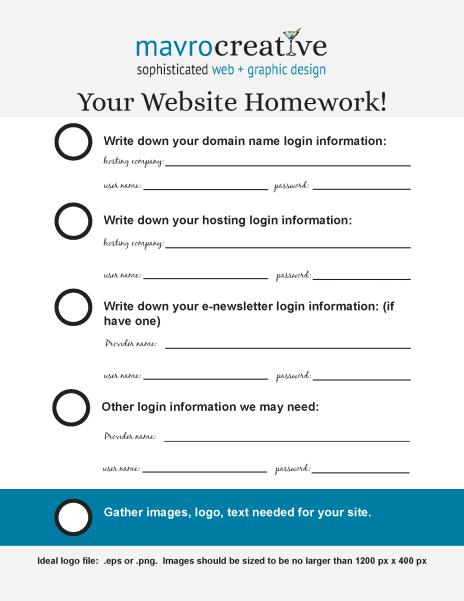 MavroCreativeHomework Sheet