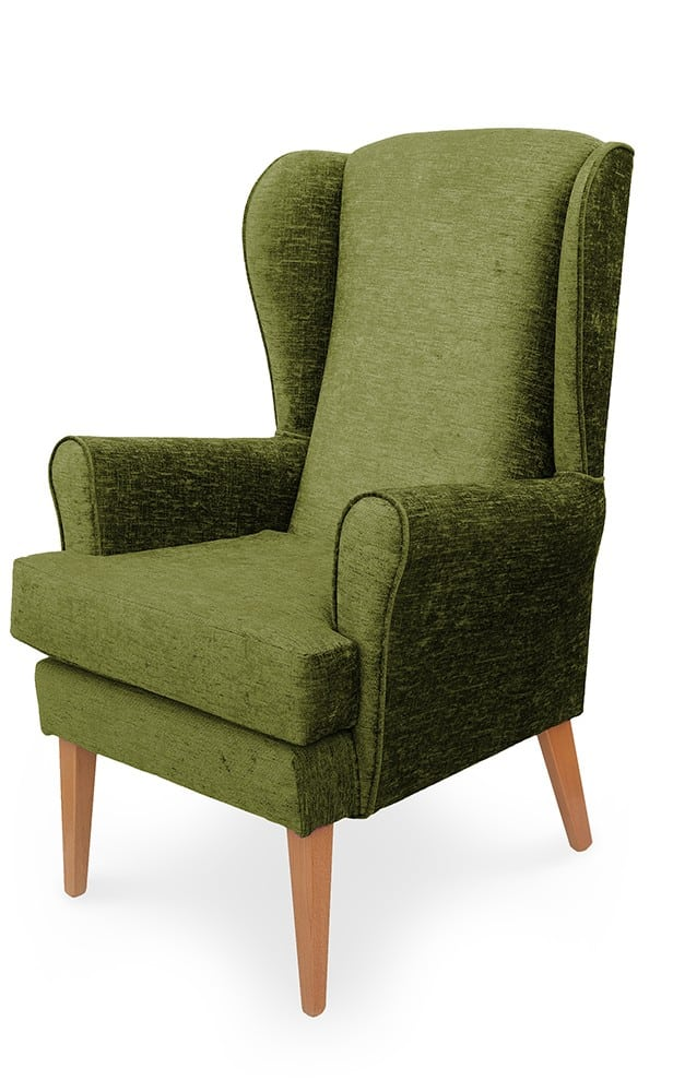Mawcare - The Morecombe - high seat orthopedic Wingback fireside Armchair in Darcy Lime fabric, Stain Resistant Finish, Waterproof, Breathable, Anti-microbial