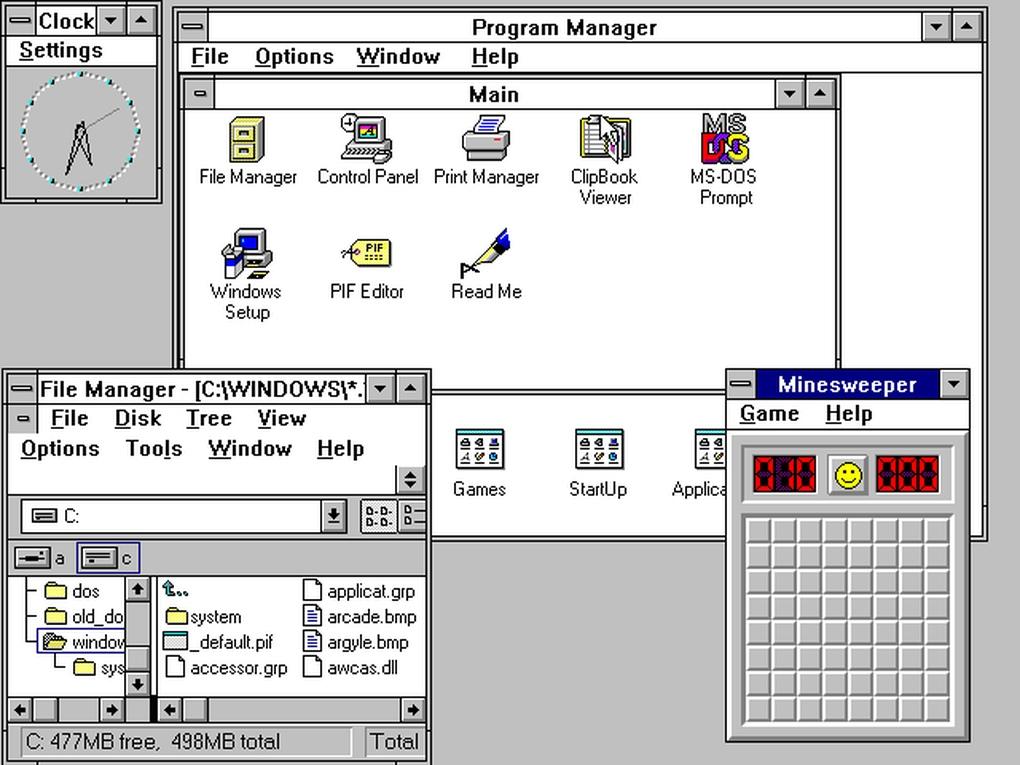 Windows 3.0 (العام 1990) - قدم الإصدار 3.0 من ويندوز واجهة محسنة بالإضافة إلى مدير البرامج والملفات، ولعبة Minesweeper.
