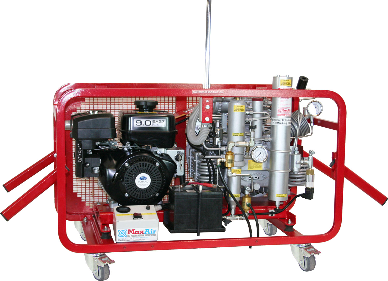 Max-Air 90 GS Subaru Gas Mini-PBAC Air Compressor (shown with optional 12 volt system)