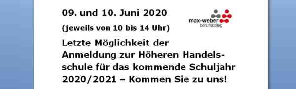 Höhere Handelsschule – letzte Möglichkeit der Anmeldung für das Schuljahr 2020/2021