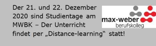 Am 21. und 22. Dezember 2020 finden Studientage am MWBK statt!