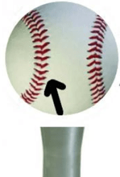 Hitting the inside seam (right hand hitter) will create a better path to the baseball while also creating backspin to drive the ball further.