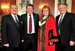 Max Boyce, Andrew John and Colin Price after receiving freedom from Neath Port Talbot at the Princess Royal theatre in Port Talbot.