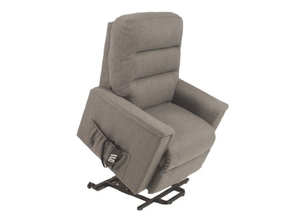 Riser Recliner - Duke Quartz - Grey - chair raised