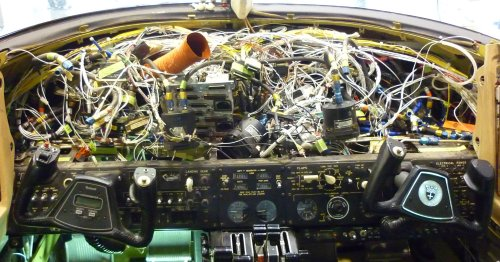 small resolution of instrument panel removed with a mess of wires uncovered