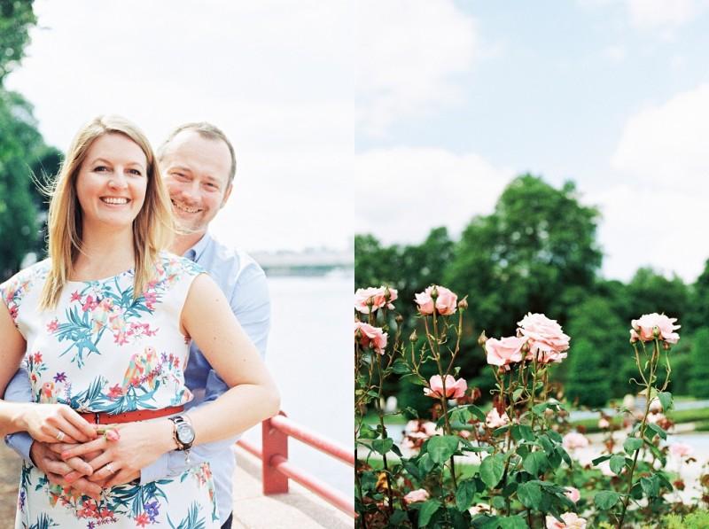 Maxeen Kim Photography, Battersea Park Engagement, Prince Albert Bridge, Pastel colours
