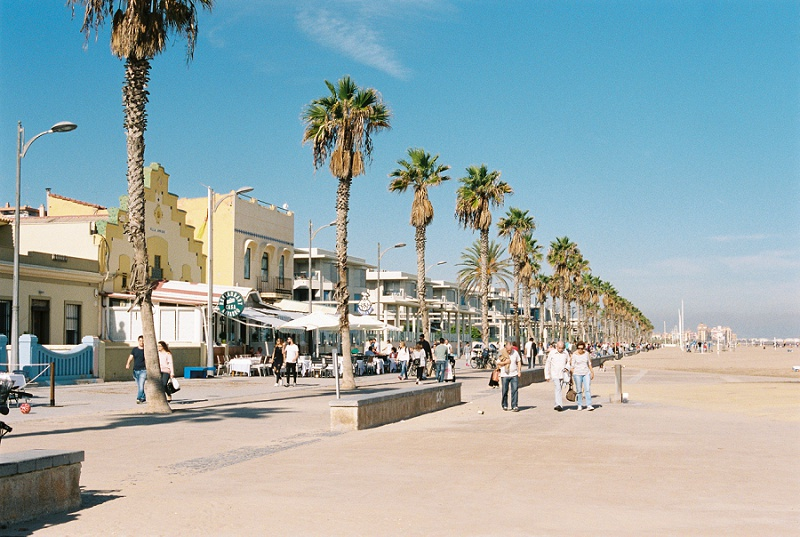 Valencia, Spain, Beach Front, Tourists, Palm Trees, Bohemia Gathering