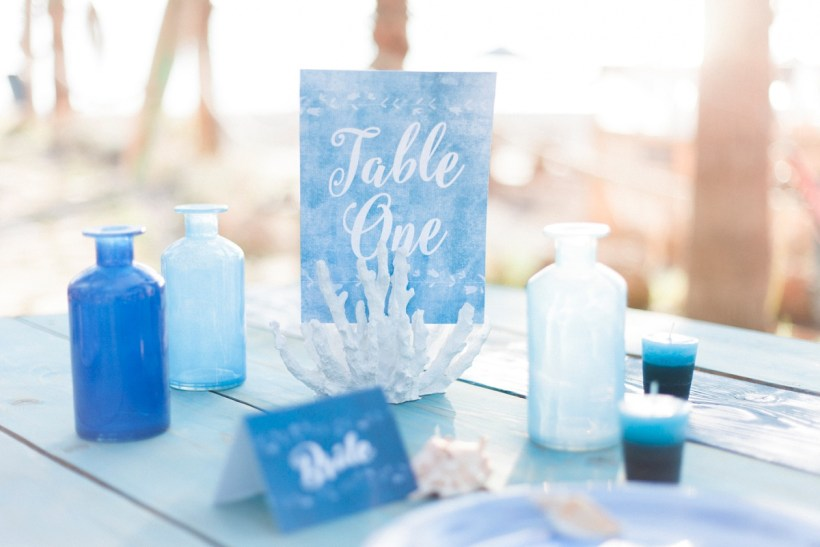 Blue Beach inspired wedding table setting by Maxeen Kim Photography, Luxury Photographer in Greece and the UK