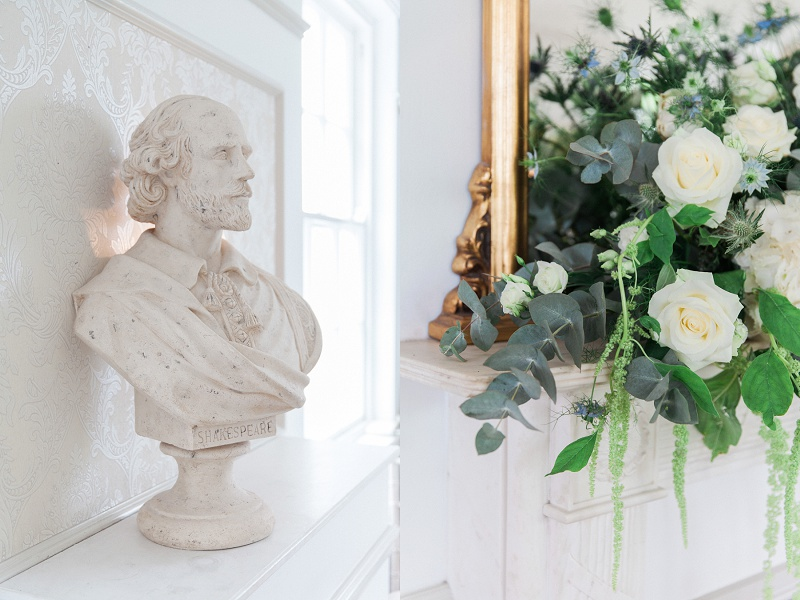 Shakespeare Bust and Flowers at Belair House