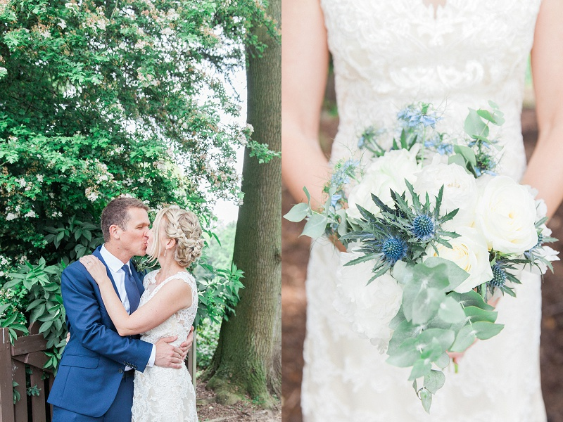 Happy Couple with Blue and White Bouquet