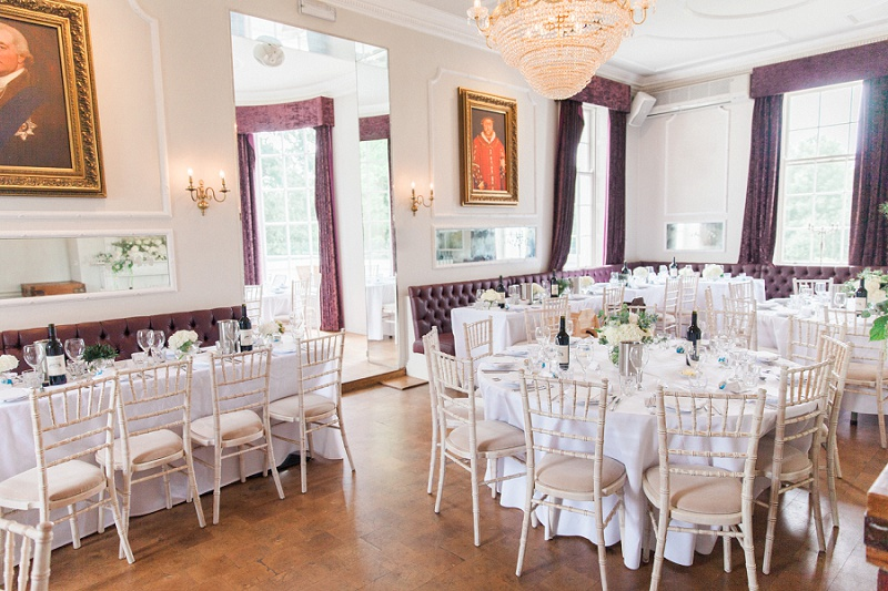 Belair House Reception Room Decorated in White and Blue