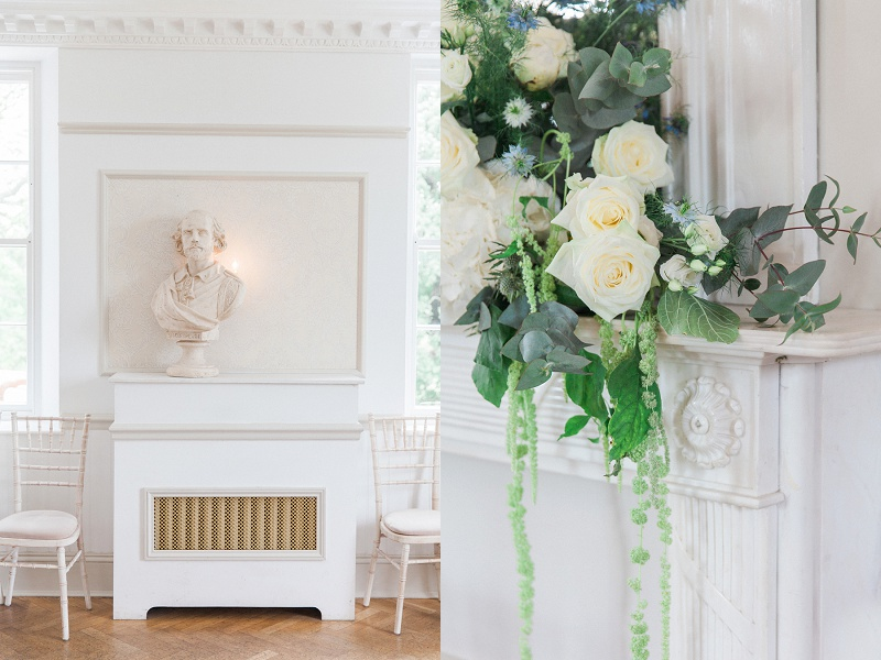 Blue and White Reception Details at Belair House in London