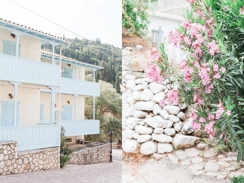 Blue Balconies and Pink Flowers at Agios Nikitas Village