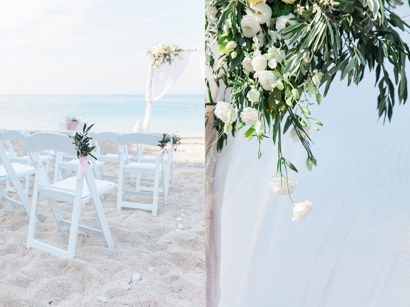 Pastel Beach Wedding Ceremony Chairs and Flowers in Agios Nikitas Lefkada
