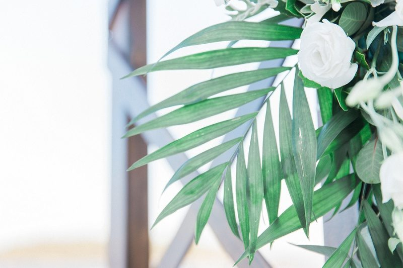 Close Up Image of Flower Details On The Wedding Arch