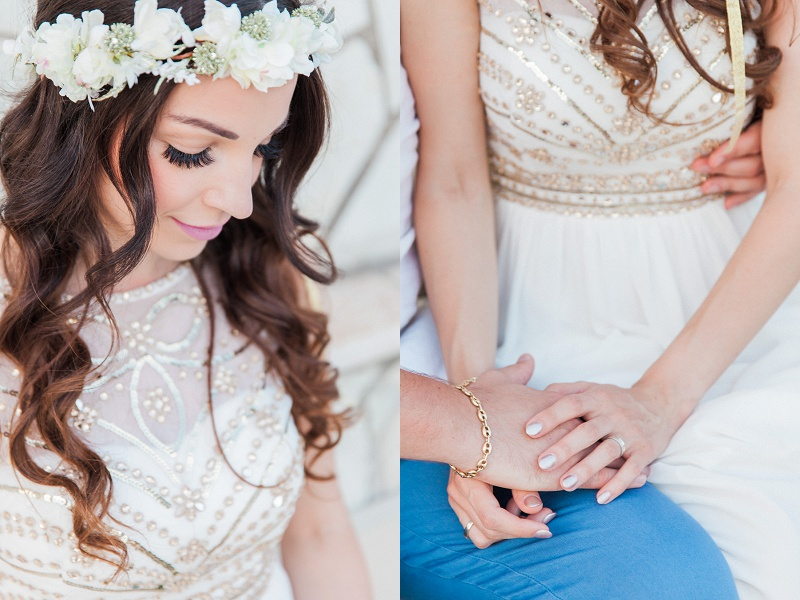 Bridal Portrait and Close Up Image of Couple Holding Hands