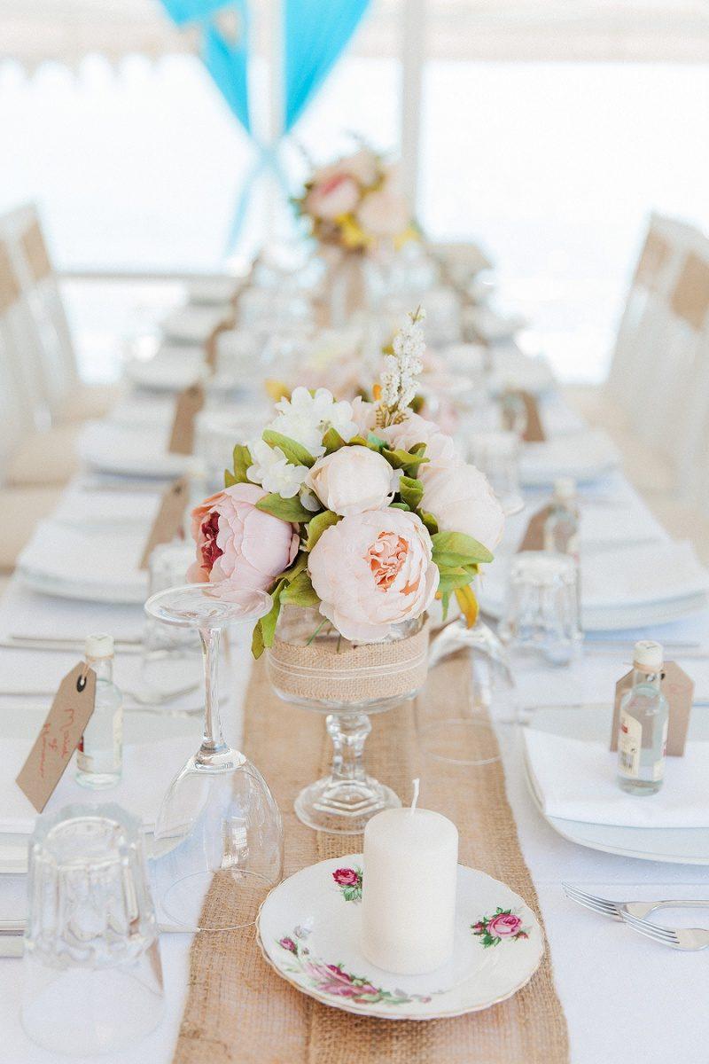 Beautiful Table Details of Peach Peonies
