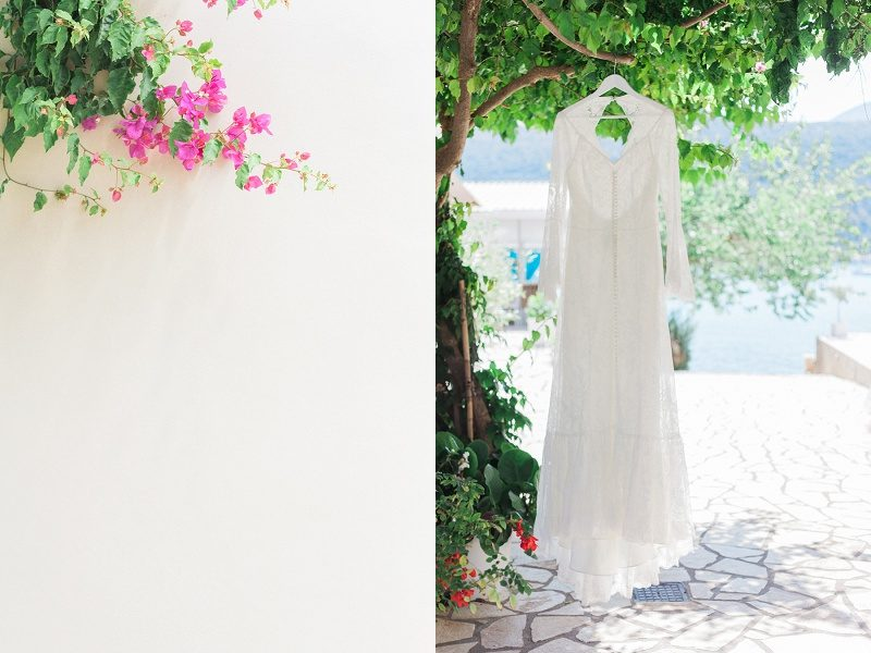 Lace Dress and Bougainvillea for Jo and Rich's Vintage Wedding