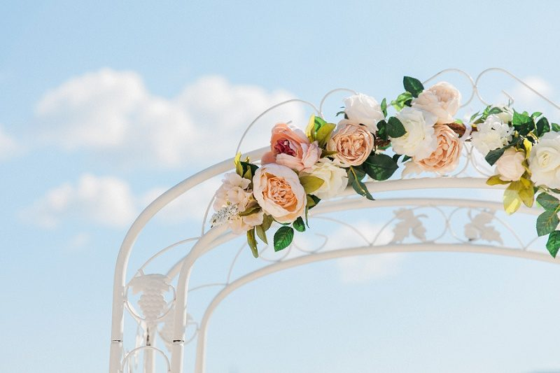 Pink and Peach Vintage Wedding Arch Details