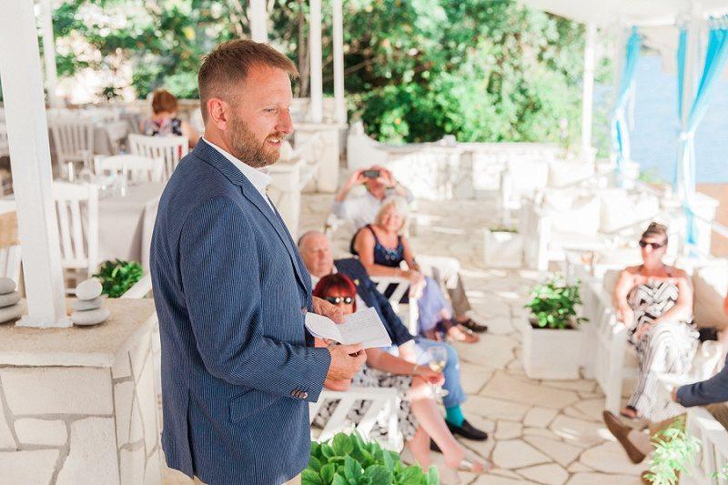 Groom Making a Speech at SeaSide Restaurant In Geni, Lefkada