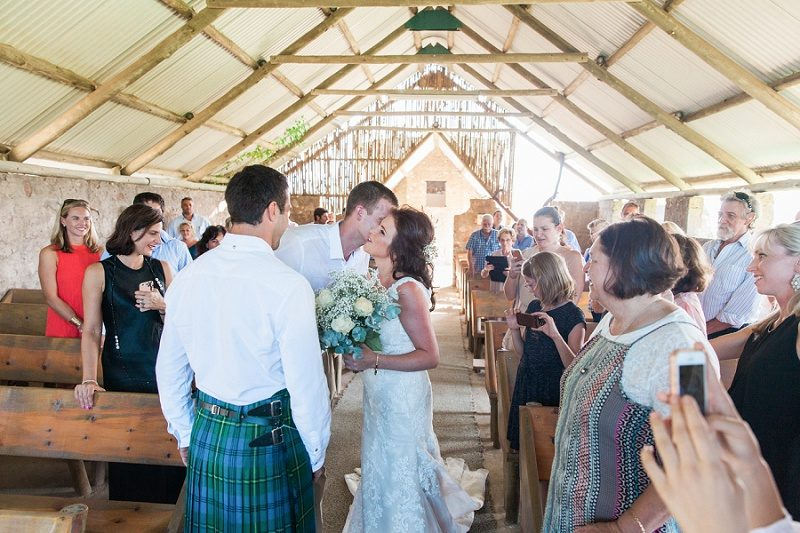 Bride and Groom Meeting in the Church at Lake Eland Game Reserve