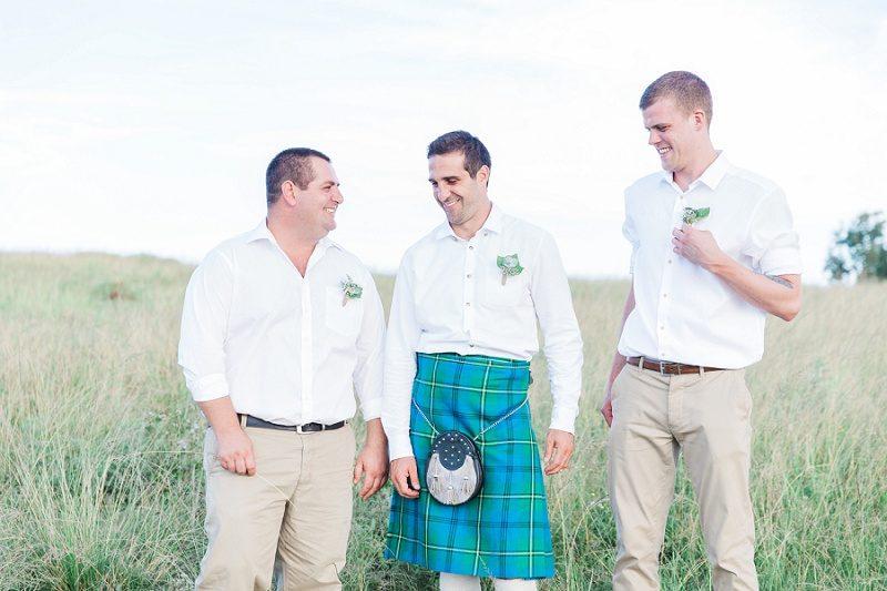 Groom in a Kilt with His Groomsmen