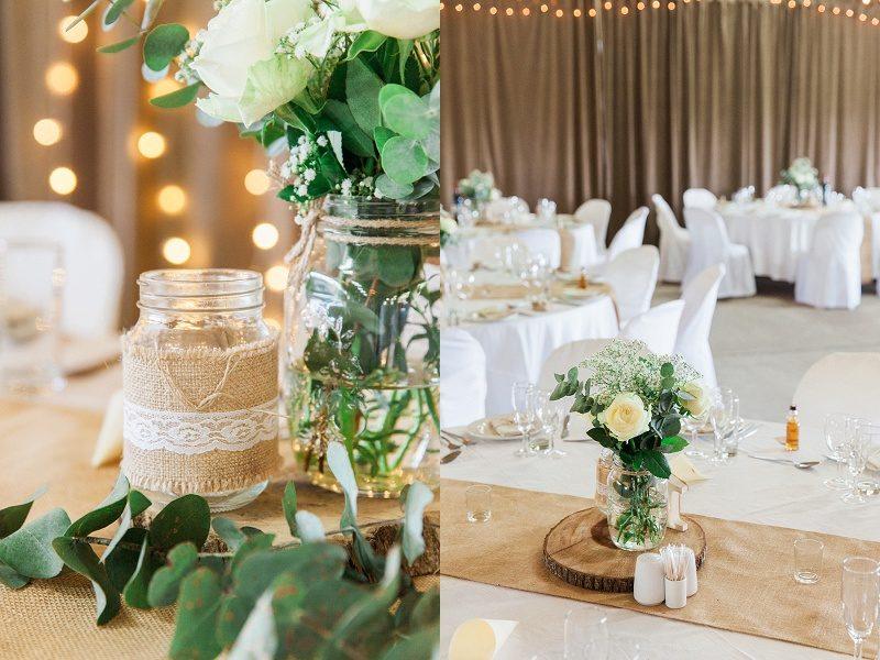 Lace, Eucalyptus and Wood Details at Lake Eland Wedding
