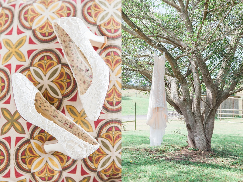 Wedding Dress and Shoes for a Wedding at Lake Eland Game Reserve