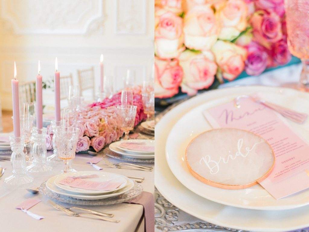 Details of the grooms table setting with a rose quartz slice and ombre rose table runner by Queen Of Hearts Floral Design