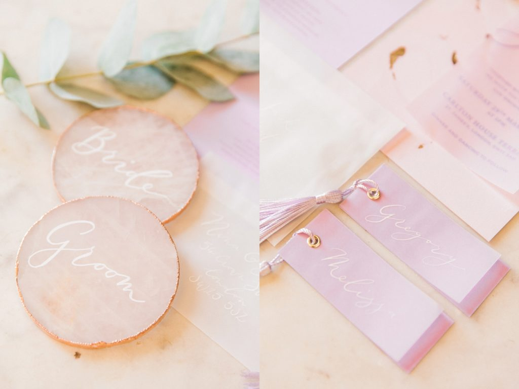 Detail images of pastel pink and lilac wedding stationery and rose quartz slices by Scritto