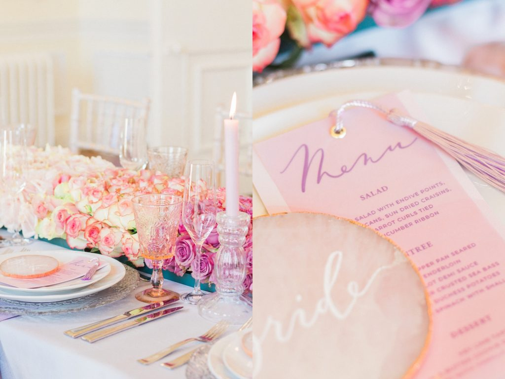 Detail images of the pastel pink and lilac wedding menu by Scritto and the glassware and ombre rose table runner at a 10-11 Carlton House Terrace wedding