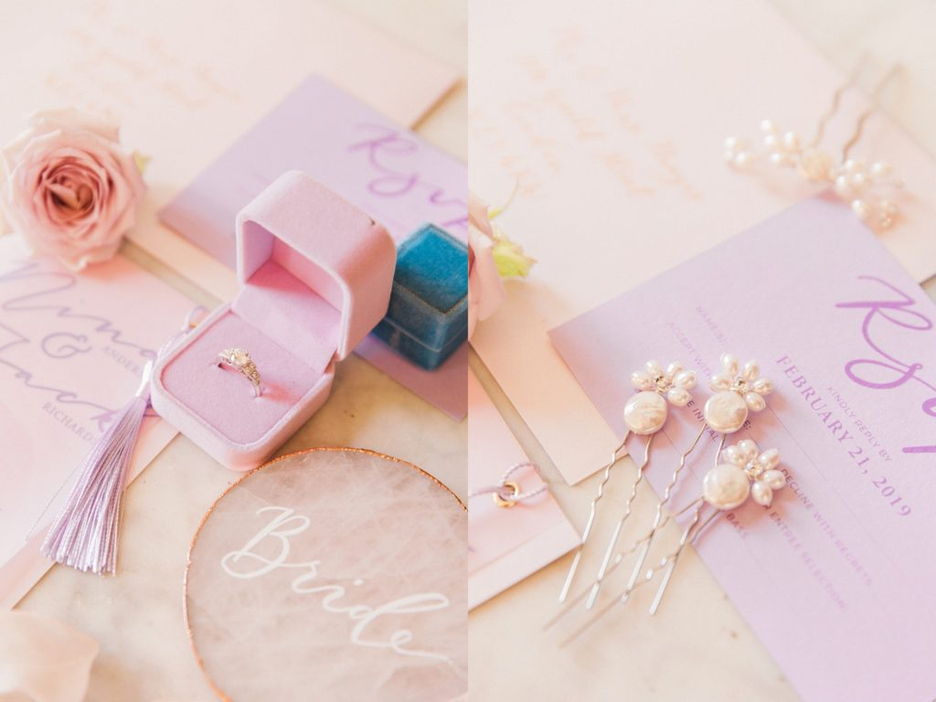 Diamond engagement ring by London Victoria Ring Company in a pink The Mrs Box and stationery by Scritto
