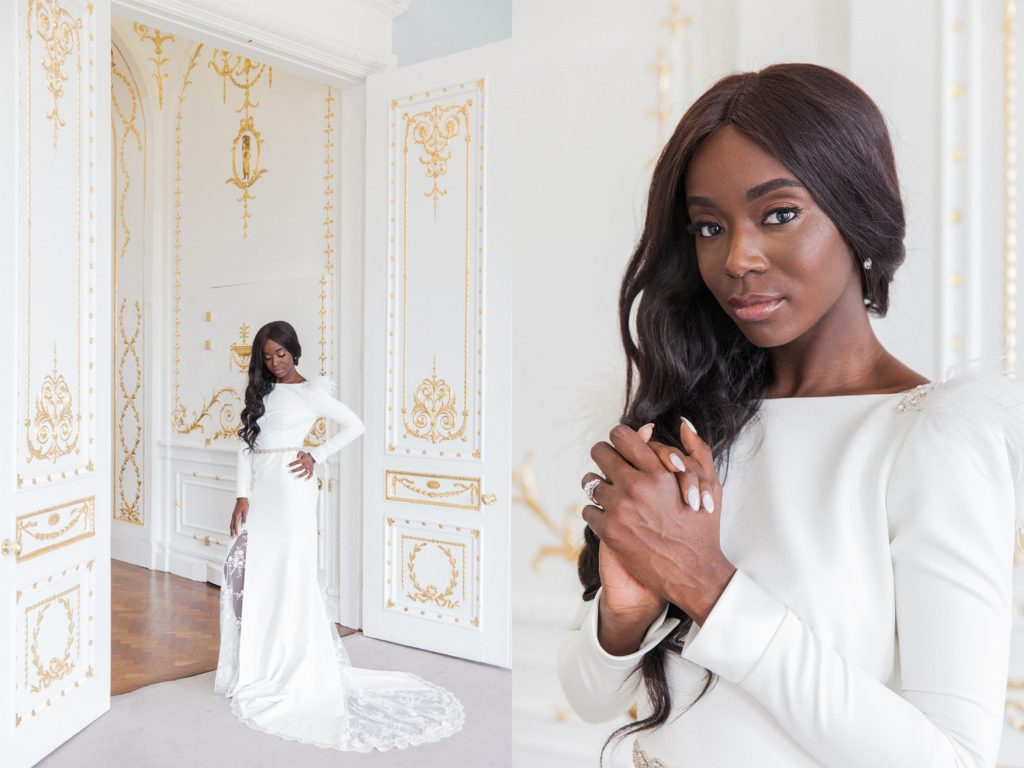 Portraits of a black bride in a white Cynthia Grafton-Holt gown with lace and ostrich feather sleeves