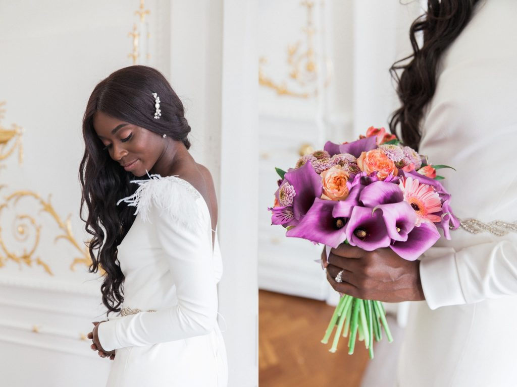 Portraits of a black bride wearing a Cynthia Grafton-Holt gown with her coral rose and purple dahlia and cala lily bridal bouquet