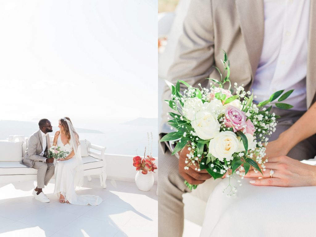Couple steal a few moments together during their Santorini elopement