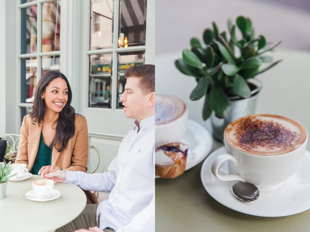 Couple enjoying a cappuccino at the Charlotte Street Hotel in London